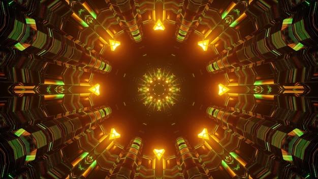 Ilustração 3d do fundo abstrato de um túnel sem fim vívido em forma de círculo iluminado por luzes de néon verdes e laranja