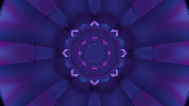 Ilustração 3d do fundo abstrato do corredor redondo brilhando com a cor roxa