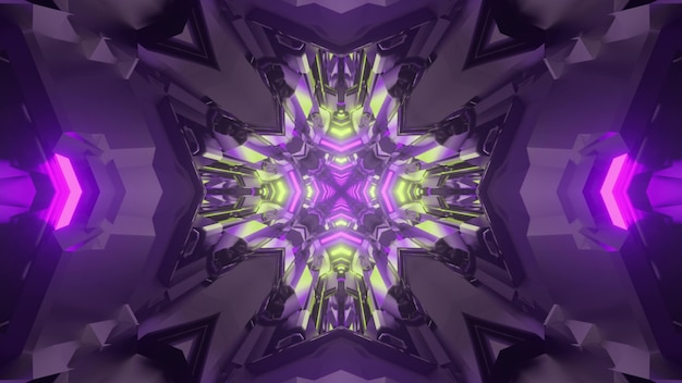 Ilustração 3d do fundo abstrato do túnel caleidoscópico sci fi iluminado