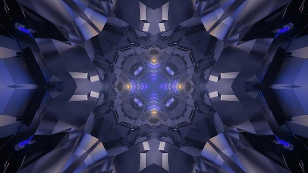 Ilustração 3d do fundo abstrato do túnel caleidoscópico