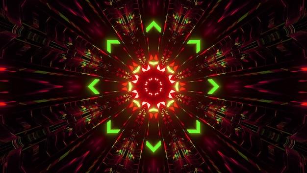 Ilustração 3d do fundo abstrato do túnel criativo simétrico com setas e linhas brilhando com luzes de néon vermelhas e verdes