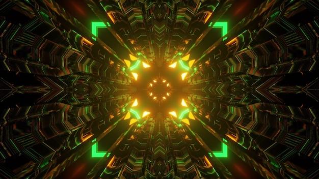 Ilustração 3d do fundo abstrato do túnel de ficção científica brilhante com formas geométricas e setas brilhando com luzes verdes e laranja