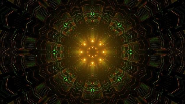Ilustração 3d do fundo abstrato do túnel de ficção científica com luzes de néon verdes e laranja