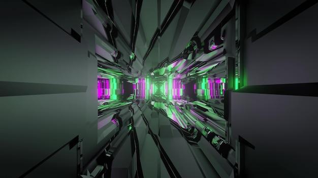 Ilustração 3d do fundo abstrato do túnel de ficção científica iluminado