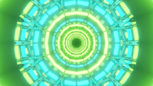 Ilustração 3d do fundo abstrato do túnel de formato redondo de sci fi