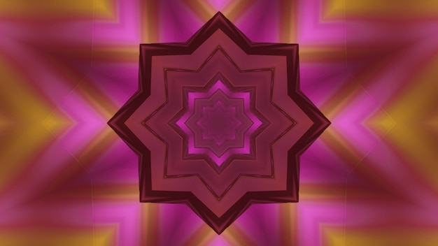 Ilustração 3d do fundo abstrato do túnel em forma de flor caleidoscópica brilhando