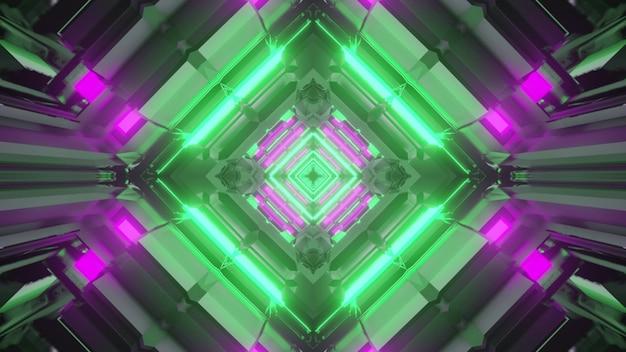 Ilustração 3d do fundo abstrato do túnel em forma de losango vívido