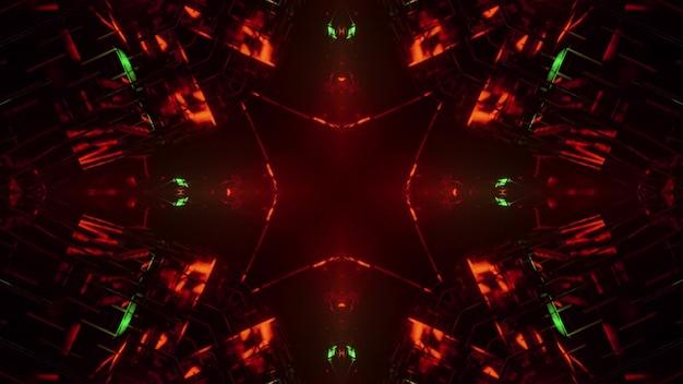 Ilustração 3d do fundo abstrato do túnel escuro com formas geométricas iluminadas por luzes de néon vermelhas e verdes