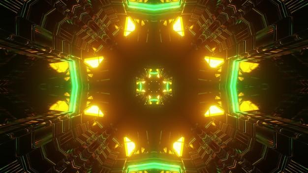 Ilustração 3d do fundo abstrato do túnel futurista em forma de cruz iluminada por luzes de néon verdes e amarelas