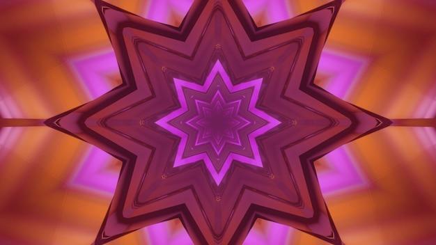Ilustração 3d do fundo abstrato do túnel geométrico de ficção científica em forma de flor