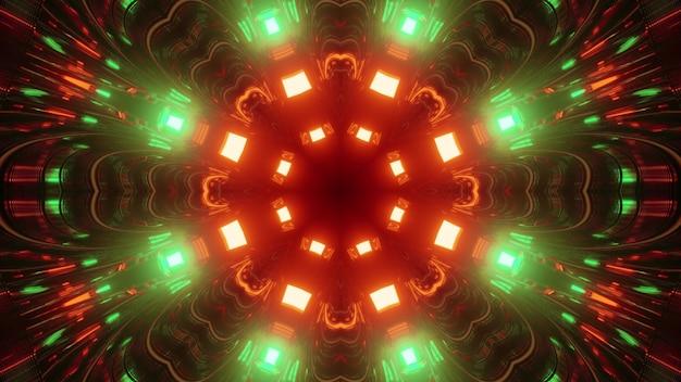 Ilustração 3d do fundo abstrato do túnel geométrico em forma de círculo com reflexo de luzes de néon vermelhas e verdes
