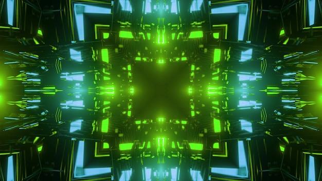 Ilustração 3d do fundo abstrato do túnel geométrico em forma de quadrado iluminado por luzes de néon verdes e azuis vivas