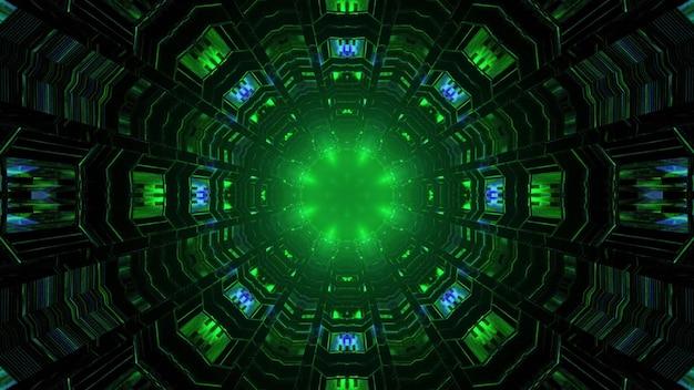 Ilustração 3d do fundo abstrato do túnel geométrico sem fim com reflexo de luzes de néon verdes e azuis