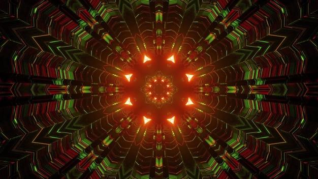 Ilustração 3d do fundo abstrato do túnel redondo com setas e linhas iluminadas por luzes de néon vermelhas e verdes