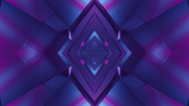 Ilustração 3d do fundo abstrato do túnel sci fi em forma de losango iluminado