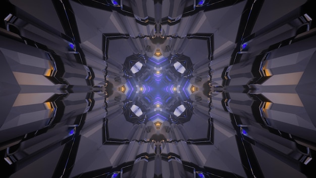 Ilustração 3d do fundo abstrato do túnel sem fim