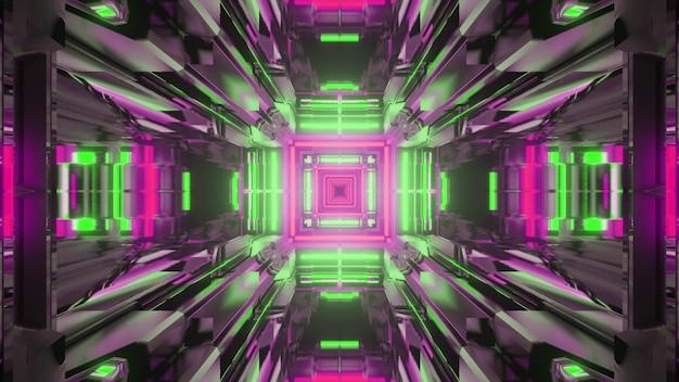 Ilustração 3d do fundo abstrato do túnel simétrico em forma de quadrado iluminado