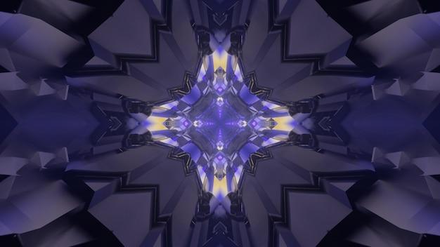 Ilustração 3d do fundo abstrato futurista do túnel caleidoscópico