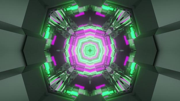 Ilustração 3d do fundo abstrato geométrico do corredor sem fim redondo