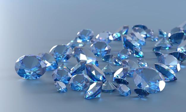 Ilustração 3d do fundo do grupo dos diamantes azuis.