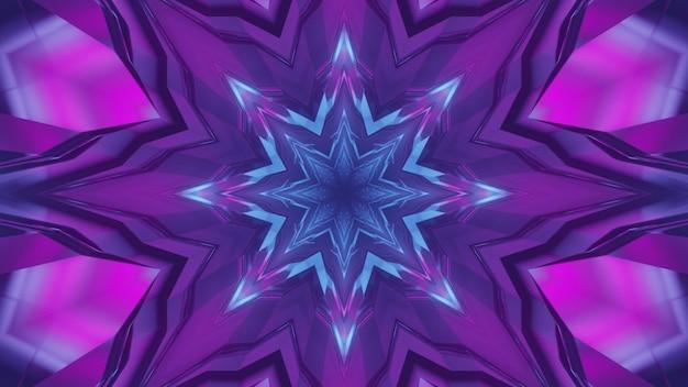 Ilustração 3d do fundo geométrico abstrato do corredor caleidoscópico brilhando