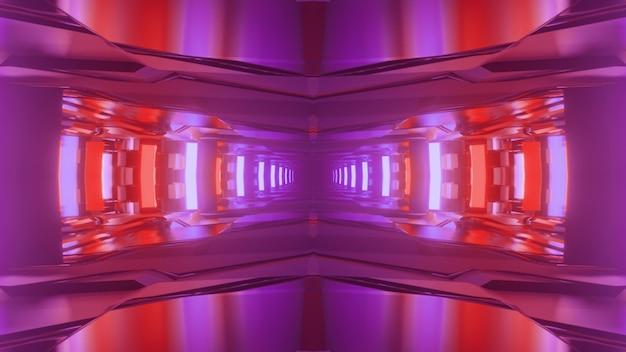Ilustração 3d do fundo geométrico abstrato do túnel brilhante