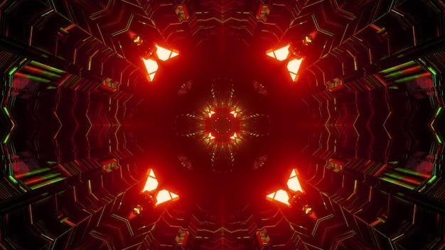 Ilustração 3d do fundo geométrico abstrato do túnel com luzes de néon vermelhas e verdes brilhantes