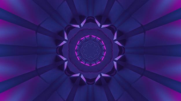 Ilustração 3d do fundo geométrico abstrato do túnel em forma redonda com raios roxos