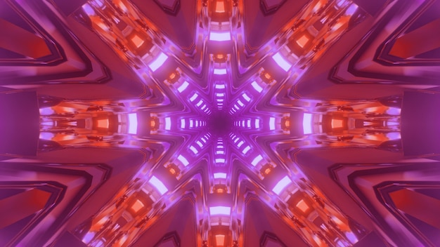 Ilustração 3d do fundo geométrico abstrato do túnel sci fi