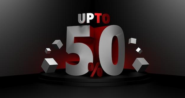 Ilustração 3d do fundo preto da venda sexta-feira. conceito de desconto de venda de até 50 por cento.