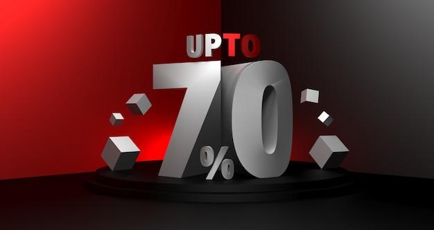 Ilustração 3d do fundo preto da venda sexta-feira. conceito de desconto de venda de até 70 por cento.