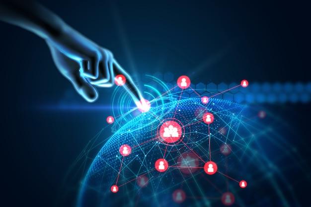 Ilustração 3d do gesto do toque da mão no elemento futurista da tecnologia