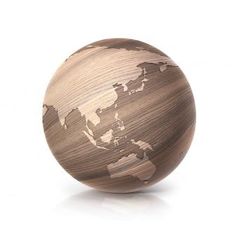 Ilustração 3d do globo de madeira de carvalho mapa da ásia e da austrália em fundo branco