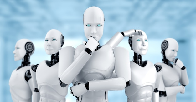 Ilustração 3d do grupo de robôs humanóides