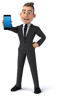 Ilustração 3d do homem de negócios engraçados