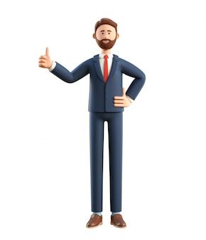 Ilustração 3d do homem de negócios feliz de sorriso com polegar acima.
