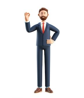 Ilustração 3d do homem de negócios feliz de sorriso que mostra o gesto aprovado.