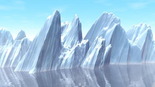 Ilustração 3d do iceberg no oceano