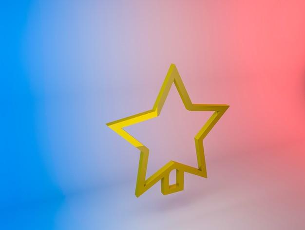 Ilustração 3d do ícone da estrela da árvore de natal em um fundo gradiente
