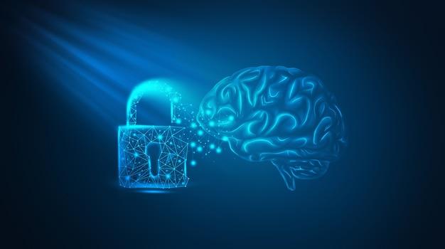 Ilustração 3d do ícone da linha de cadeado do cérebro