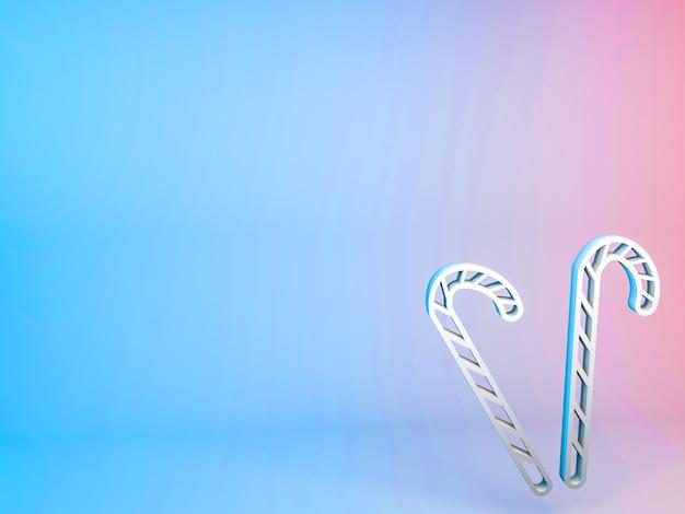 Ilustração 3d do ícone do bastão de natal em um fundo gradiente