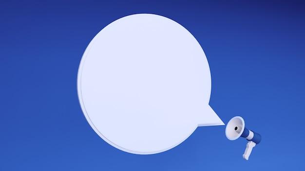 Ilustração 3d do ícone do megafone azul com bate-papo em branco