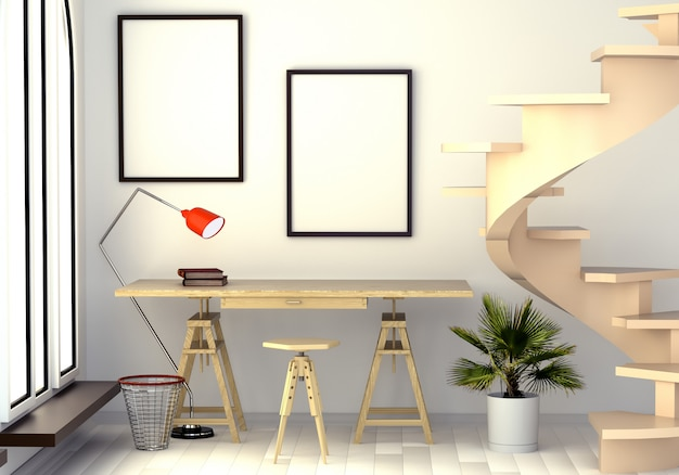 Ilustração 3d do interior abstrato com uma mesa do trabalho, uma lâmpada de assoalho, uma janela e uma escadaria espiral.
