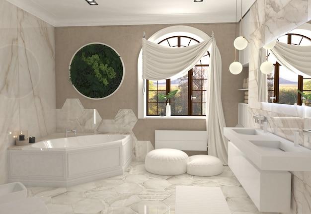 Ilustração 3d do interior do banheiro