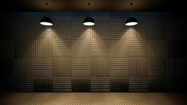 Ilustração 3d do interior vazio da parede