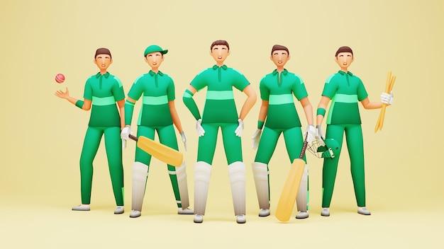 Ilustração 3d do jogador da equipe de críquete do paquistão com equipamento de torneio em fundo amarelo.