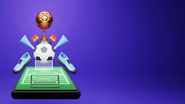 Ilustração 3d do jogo de futebol online de smartphone com a taça de troféu de bronze, chifres de vuvuzela e espaço de cópia.