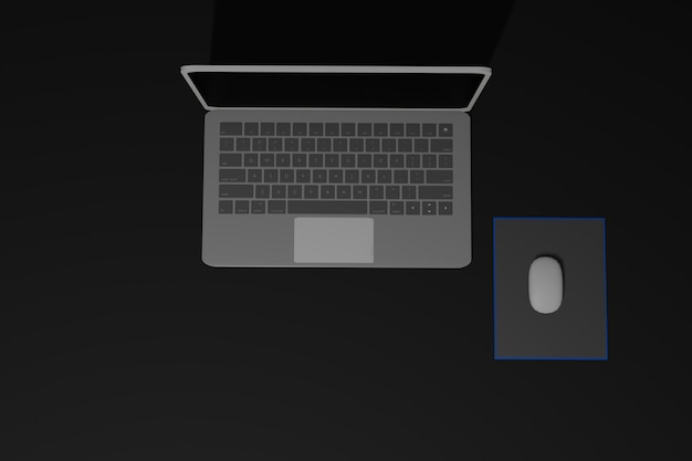 Ilustração 3d do laptop e mouse