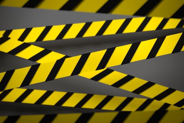 Ilustração 3d do listras pretas e amarelas no meio em um fundo cinzento. fitas de aviso representando sinais de perigo e uma chamada para ficar longe. fita de barreira.