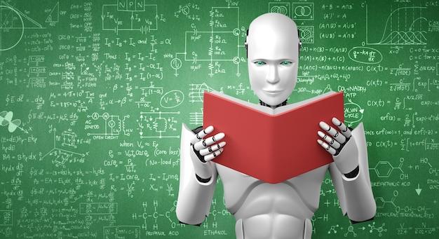 Ilustração 3d do livro de leitura do robô humanóide e resolução de matemática
